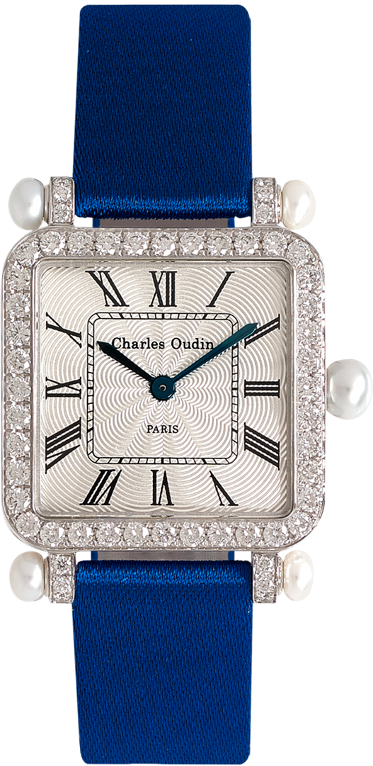 Pansy Retro with pearls watch in 18K white gold set with diamonds, guilloche dial, roman numeral by Charles Oudin Paris 8 place Vendome