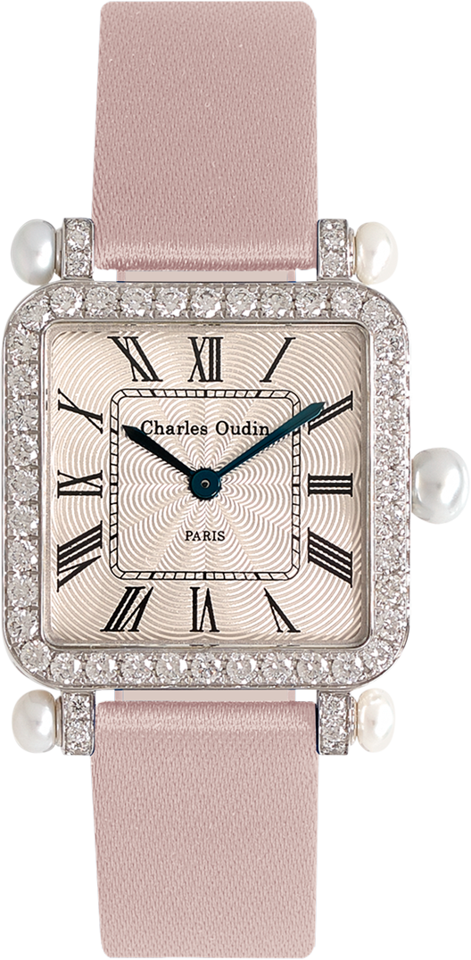 Pansy Retro with pearls watch 24mm in 18K white gold set with diamonds, guilloche dial, roman numeral, pink satin by Charles Oudin Paris 8 place Vendome
