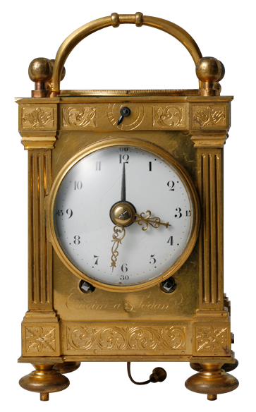"""Early quarter-repeating pendulette d'officier with pull-wind alarm and chronometer escapement, signed """"Oudin à Sedan"""" Circa 1790."""