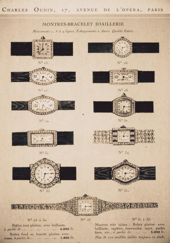 Charles Oudin catalogue of 1st women's wristwatches early 20th still Classic French style