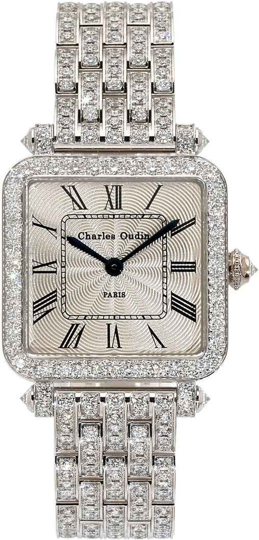 high-end jewelry watch for women Full Pansy Retro watch in 18K white gold set with diamonds, guilloche dial, by Charles Oudin Paris 8 place Vendôme