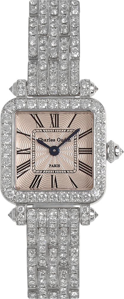 high-end jewelry watch for women Full Pansy Retro watch mini size in 18K white gold set with diamonds, guilloche dial, by Charles Oudin Paris 8 place Vendôme