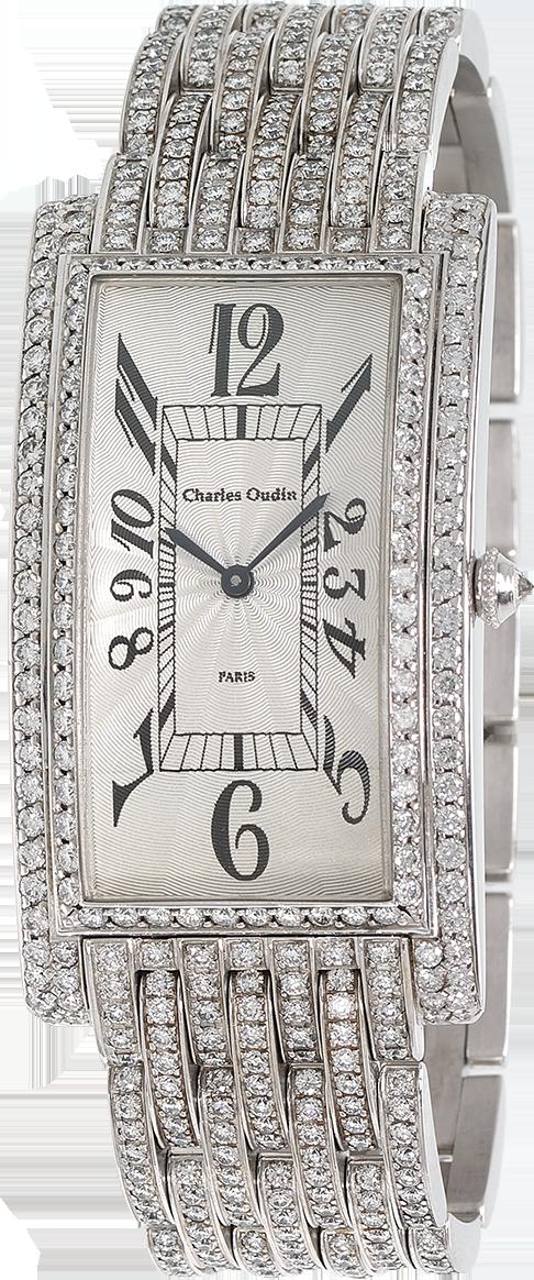 Charles Oudin Full Diamond Brancard luxury timepiece 18K white gold watch set with diamonds, guilloche dial, diamond bracelet