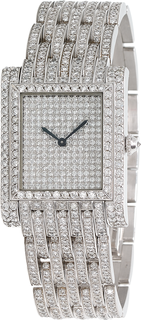Full Diamond Falcon in 18K white gold set with Diamonds luxury wristwatch signed Charles Oudin Paris