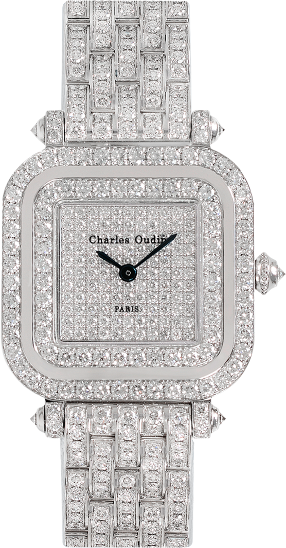 Charles Oudin Full diamond Mini Pansy Retro , an 18K white gold square watch set with natural diamonds, diamond dial